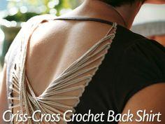 Criss Cross Crochet Back Upcycled Shirt