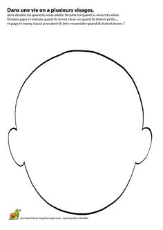 Une tête à remplir avec les différentes parties du visage et à colorier.
