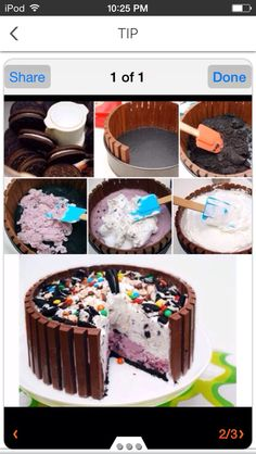 Candy Shop Ice Cream Cake Recipe 2 qt ice cream, any 2 flavors 2 TBS milk 39 kit-kat candy bars 16 oz whipped topping, frozen (like cool whip) 30 oreo cookies, broken up cup chocolate candies, assortment Ice Cream Desserts, Frozen Desserts, Ice Cream Recipes, Just Desserts, Delicious Desserts, Diy Ice Cream Cake, Ice Cream Birthday Cake, Cake Birthday, Birthday Ideas