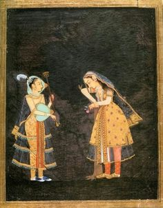 Lady listening to music, played by a woman on the rudra veena, Deccan,India,c.1680