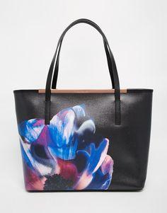 Image 1 ofTed Baker Leather Cosmic Bloom Crosshatch Shopper
