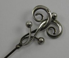 Online veilinghuis Catawiki: Silver Art Nouveau hat pin, Charles Horner, Chester 1909