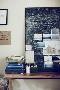 myidealhome:    workspace with chalkboard inspiration board (via office.)
