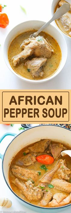 African pepper soup is a delightfully ,intensely flavored soup that is served throughout West Africa, especially in Nigeria, Cameroon and other neighboring African countries. West African Food, South African Recipes, Ethnic Recipes, Soup Recipes, Chicken Recipes, Cooking Recipes, Healthy Recipes, Pepper Recipes, Recipies