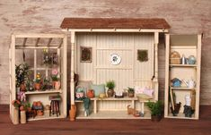 Charming Miniature Threepart Greenhouse Set in Wooden Vase, Wooden Stools, Wooden Boxes, Pots D'argile, Metal Watering Can, Large Flower Pots, Clay Vase, Wooden Picture Frames, Tool Sheds