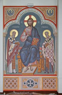 Icon of Christ in glory with St. Ignatius of Antioch Theophoros and Our Holy Father Nicholas of Myra.