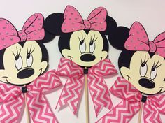 "8"" Minnie Mouse with pink bow and rhinestones Centerpieces Sticks,Birthday Decorations,Baby Shower,Party Supplies,1st Birthday,Gift Baskets by LoveToFiesta on Etsy"