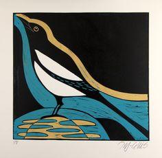 Linosnede, ekster, prentkunst, abstracte kunst, zwart, oker geel, turquoise bue, vet kleuren, moderne kunst, home, interieur, sterke kleuren, vogel