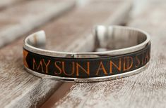 My Sun and Stars Cuff Game of Thrones Jewelry Stainless Steel Cuff bracelet Khal and Khaleesi Cuff GoT Gift for Her Anniversary Gift Idea Layered Bracelets, Braided Bracelets, Handmade Bracelets, Leather Bracelets, Women's Bracelets, Game Of Thrones Jewelry, Shops, My Sun And Stars, Khaleesi