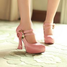 Stunning Pink PU Round Closed Toe Chunky Super High Heel Mary Jane Pumps