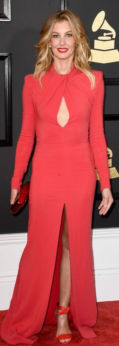 Who made Faith Hill's red cut out gown and tie sandals?