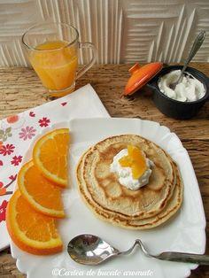 Pancakes cu suc de portocale, un mic dejun delicios si aromat. Clatite americane cu portocale. Cum se fac clatitele americane, cum se servesc. Dessert Recipes, Desserts, Pancakes, Breakfast, Tailgate Desserts, Morning Coffee, Deserts, Postres, Pancake