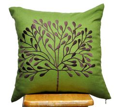 Green Tree Pillow Cover Decorative Throw Pillow Cover by KainKain, $23.00