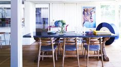 Try a colored table top // Eccentric Dining Room