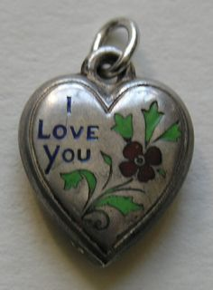 "DIY your photo charms, compatible with Pandora bracelets. Make your gifts special. Make your life special! Vintage ""I Love You"" Enameled Sterling Heart Charm I Love Heart, Key To My Heart, Heart Art, Antique Jewelry, Vintage Jewelry, Vintage Charm Bracelet, Vintage Heart, Valentine Heart, Valentines"