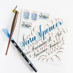 Combination of Tombow Brush pen pointed pen calligraphy in Janet Style calligraphy via The Postman's Knock Calligraphy Worksheet, Calligraphy Doodles, Calligraphy Words, Learn Calligraphy, Script Lettering, Penmanship, Brush Lettering, Typography, Modern Calligraphy