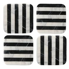 Thirstystone Stripe Square Marble Coasters (£17) ❤ liked on Polyvore featuring home, kitchen & dining, bar tools, black, black marble coasters, thirstystone coasters, thirstystone drink coasters, thirstystone and black coasters