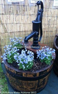 Oak Barrel Water Feature with