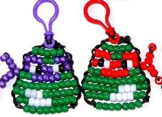 Teenage Mutant Ninja Turtles TMNT Bead Buddy Backpack Clip-Ons Party Favors, I wanna be able to make these! Pony Bead Projects, Pony Bead Crafts, Seed Bead Crafts, Beaded Crafts, Beaded Ornaments, Beading Projects, Diy Projects, Pony Bead Animals, Beaded Animals