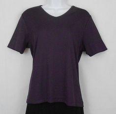 Laura Scott Eggplant Sz M Polyester/Spandex Short Sleeve Stretch Top  #LauraScott #KnitTop