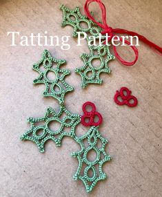 A PDF tatting pattern for my design of a holly leaf cluster with berries. Pattern has Instructions for both the leaf berry cluster as well as individual leaves. The Individual leaves make lovely earrings, and the iconic leaf cluster can be used as a pendant, Christmas tree ornament,