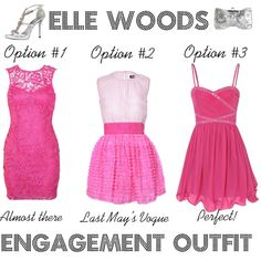 I like option #1 or #3 for her engagement dress.  Must fit under another dress.