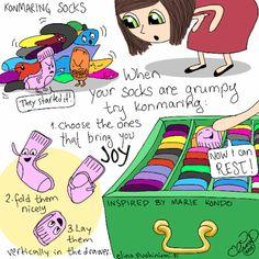 Palasia sateenkaaresta: The Tale of The Grumpy Socks Neat And Tidy, Tidy Up, Sparks Joy, Konmari Method, Flylady, Marie Kondo, Decluttering, Spring Cleaning, Japanese Art