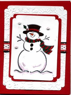 Frosty Christmas Big thanks to who shared her cards and I loved it so much I had to case it. Merry Christmas Photos, Christmas Cards 2018, Stamped Christmas Cards, Xmas Cards, Christmas Snowman, Christmas Projects, Christmas 2019, Handmade Christmas, Holiday Cards