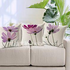 set de 3 lumină elegant violet model floral bumbac / lenjerie pernă decorative capac 2017 - $30.59