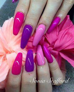 Purple Nail Designs, Colorful Nail Designs, Cute Nail Designs, Sexy Nails, Hot Nails, Hair And Nails, Cute Acrylic Nails, Cute Nail Art, Funky Nails