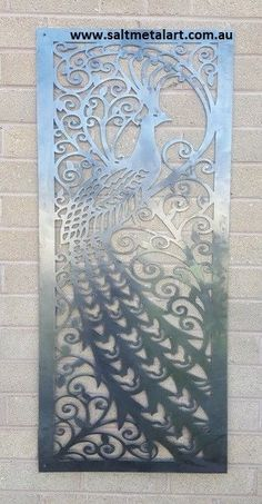 Metal Peacock wall hanging decorative panel or privacy screen