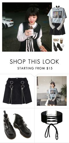 """""""Bubble tea with Jinnie unnie"""" by go-minrin ❤ liked on Polyvore featuring Dr. Martens, Miss Selfridge and Casetify"""