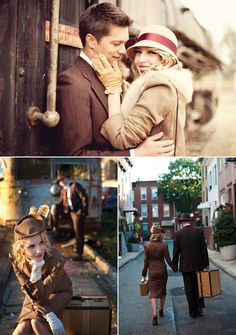 Vintage Train Engagement Photo Shoot