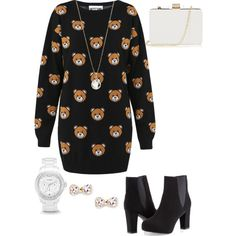 Comfortable but yet super cute! by taznietasmania on Polyvore featuring polyvore, fashion, style, Moschino, Ashley Stewart, Oasis, FOSSIL, Accessorize and Sole Society