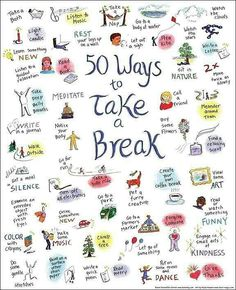 50 ways to take a break and relieve #stress. #MindfulLiving OurMLN.com
