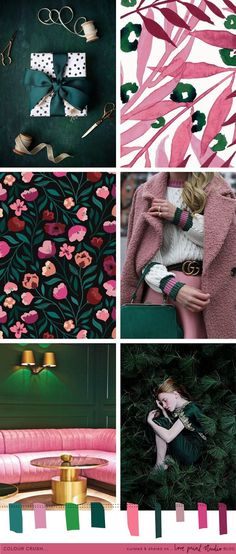 Forest green and emerald tones mixed with berry and dusky pinks.what a combo! (image credits clockwise from top left) 1 Bedroom Color Schemes, Colour Schemes, Color Trends, Color Patterns, Palettes Color, Colour Pallete, Pantone, Layout Design, Logo Design