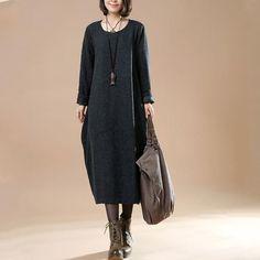 Autumn Large Size Women's Long Sleeve Wool Dark Gray Dress