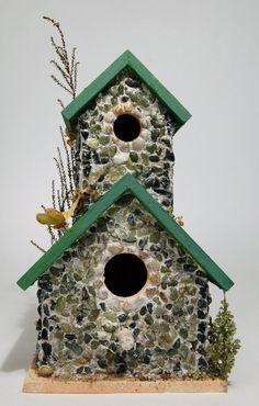 Green Pebble Mosaic Decorative Double Birdhouse