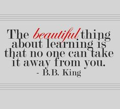 The beautiful thing about learning is that no one can take it away from you!