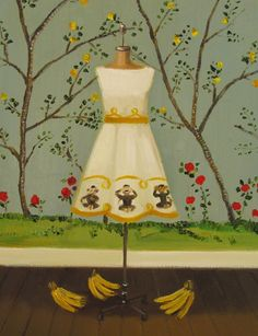 Three Wise Monkeys Dress--Janet Hills Studio