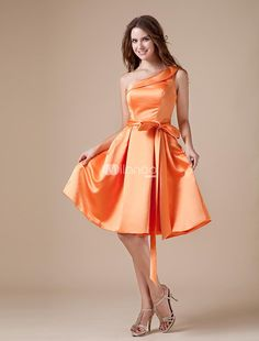 Vintage Orange Satin One Shoulder Tea Length Bridesmaid Dress. Fans of 50s fashions are really going to adore this one because of its retro appeal. It features a one strap bodice with a fold over edge and asymmetrical neckline. A matching waist sash ties on the side  adding interest and .. . See More Bridesmaid Dresses at http://www.ourgreatshop.com/Bridesmaid-Dresses-C926.aspx