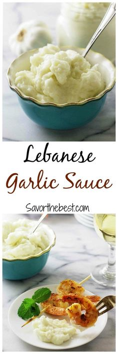 Lebanese Garlic Sauce - Savor the Best Lebanese garlic sauce - A thick creamy garlic sauce that has an intense garlic flavor. Wonderfully delicious served with grilled lamb kabobs and quinoa or rice (Vegan Bbq Kabobs) Lebanese Garlic Sauce, Creamy Garlic Sauce, Garlic Aioli, Lebanese Chicken, Lebanese Recipes, Greek Recipes, Lebanese Cuisine, Chutneys, Sauces