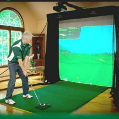 Platinum Golf Simulator Series Studio Package - Play golf every day all year long with the Platinum Golf Simulator Studio. Golf Tiger Woods, Woods Golf, Home Golf Simulator, Golf Practice Net, Golf Simulators, Golf Drivers, Golf Quotes, Golf Irons, Disc Golf