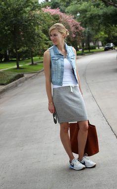 Closet Inspiration: Denim vest + white tank + casual skirt + Converse
