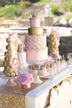 Vintage Glam Princess Birthday Party via Kara's Party Ideas… Princess First Birthday, First Birthday Party Themes, Baby Shower Princess, Birthday Decorations, Girl Birthday, Birthday Ideas, Pink Und Gold, Rose Gold, Vintage Glam