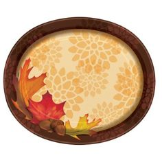 Fall Leaves Oval Paper Plates, 8ct