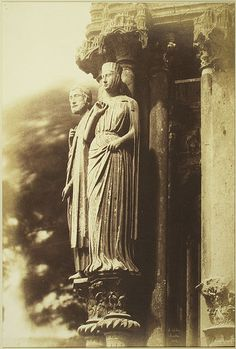 [Large Figures on the North Porch, Chartres Cathedral], 1852 Henri-Jean-Louis Le Secq salted paper print from paper negative Met Museum Giorgio Vasari, Getty Museum Los Angeles, Statues, Gustave Le Gray, Porche, French Photographers, Metropolitan Museum, Art History, Cathedrals