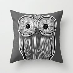 Owl in grey Throw Pillow by Omar Sangiovanni - $20.00