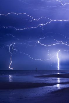 Lightning dancing across the night sky