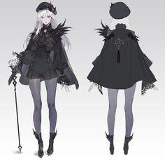 ArtStation - Black&White_1, Okku 오꾸 Fantasy Character Design, Character Design Inspiration, Character Concept, Character Art, Concept Art, Girls Characters, Fantasy Characters, Female Characters, Anime Chibi